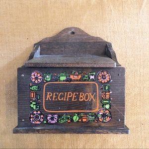 Vintage Wooden Recipe Box Mid Century 60s 70s